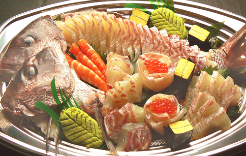 真鯛の刺身 黒酢の寿司京山